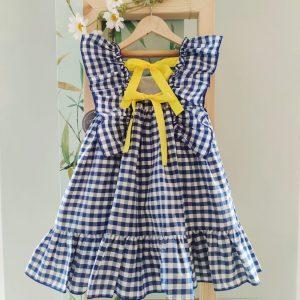 Vestido vichy azulino MON PETIT BONBON