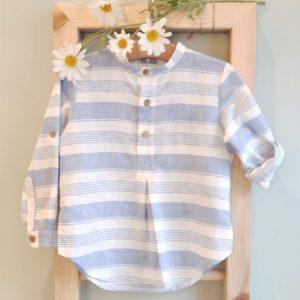 Camisa rayas lino CESAR BLANCO
